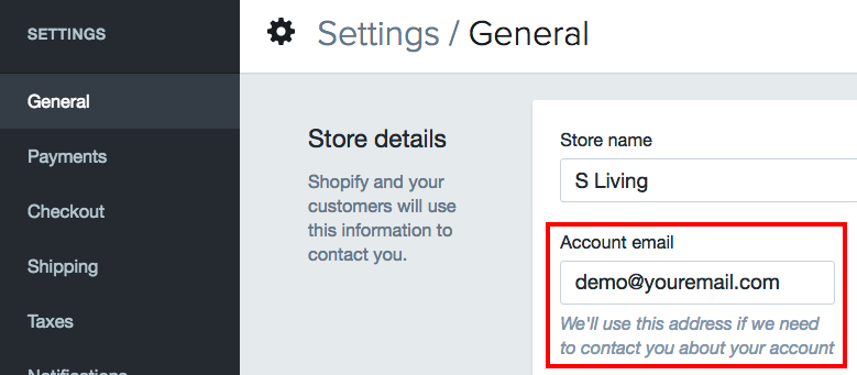 find account email in shopify settings